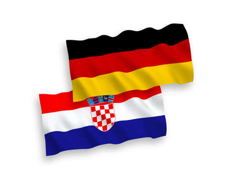 National vector fabric wave flags of Germany and Croatia isolated on white background. 1 to 2 proportion. Ilustração
