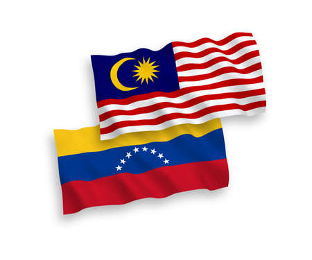 National vector fabric wave flags of Venezuela and Malaysia isolated on white background. 1 to 2 proportion.