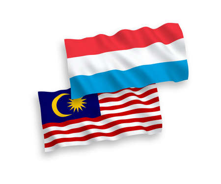 National vector fabric wave flags of Malaysia and Luxembourg isolated on white background. 1 to 2 proportion.