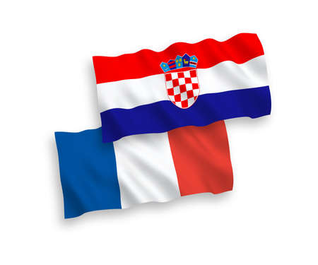 National vector fabric wave flags of France and Croatia isolated on white background. 1 to 2 proportion.