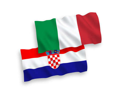 National vector fabric wave flags of Italy and Croatia isolated on white background. 1 to 2 proportion.