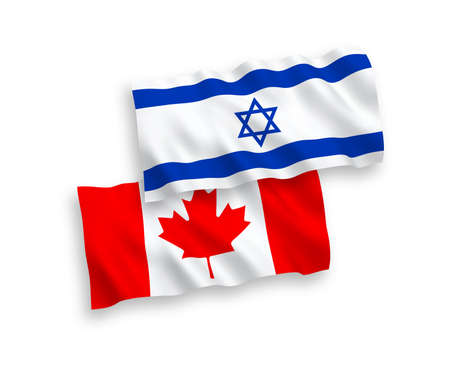 National vector fabric wave flags of Canada and Israel isolated on white background. 1 to 2 proportion.