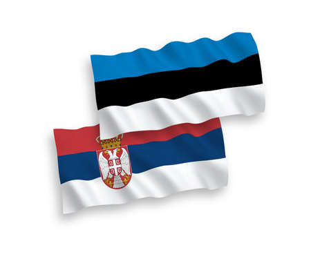National vector fabric wave flags of Estonia and Serbia isolated on white background. 1 to 2 proportion.