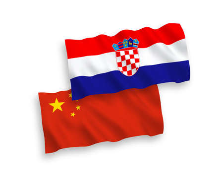 National vector fabric wave flags of Croatia and China isolated on white background 1 to 2 proportion.