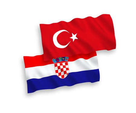 National vector fabric wave flags of Turkey and Croatia isolated on white background. 1 to 2 proportion.