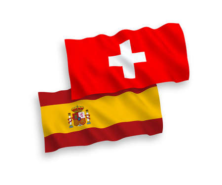 National vector fabric wave flags of Switzerland and Spain isolated on white background. 1 to 2 proportion.