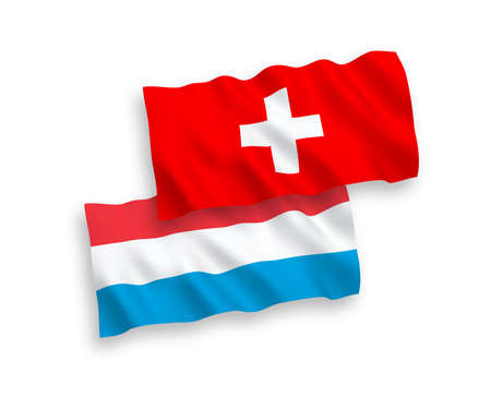 National vector fabric wave flags of Switzerland and Luxembourg isolated on white background. 1 to 2 proportion. Stock Illustratie