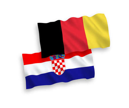 National vector fabric wave flags of Croatia and Belgium isolated on white background. 1 to 2 proportion.