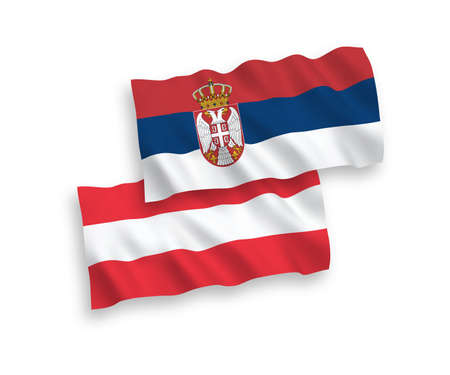 National vector fabric wave flags of Austria and Serbia isolated on white background. 1 to 2 proportion.