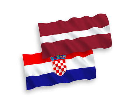 National vector fabric wave flags of Latvia and Croatia isolated on white background. 1 to 2 proportion.