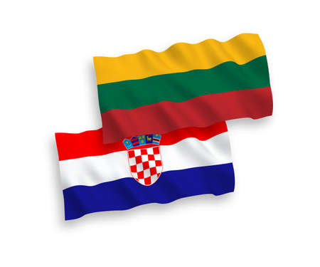 National vector fabric wave flags of Lithuania and Croatia isolated on white background. 1 to 2 proportion.