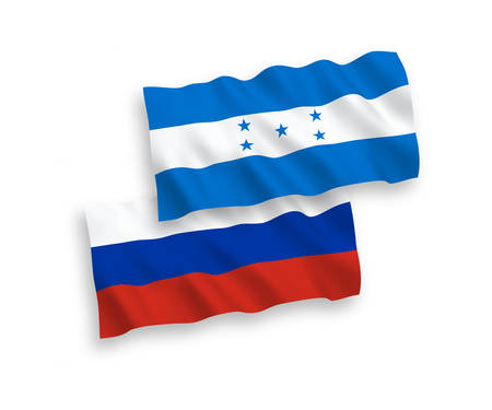 National vector fabric wave flags of Honduras and Russia isolated on white background. 1 to 2 proportion.