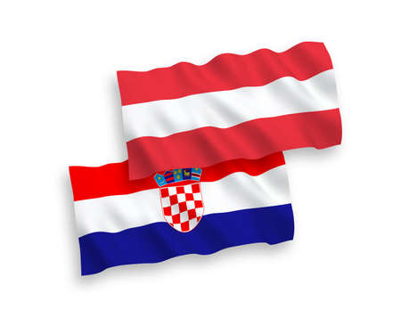 National vector fabric wave flags of Austria and Croatia isolated on white background. 1 to 2 proportion.
