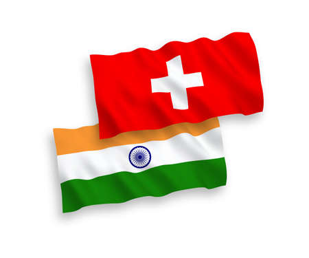 National vector fabric wave flags of India and Switzerland isolated on white background. 1 to 2 proportion. Illusztráció