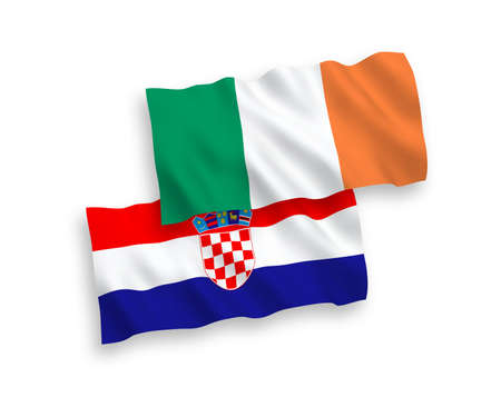 National vector fabric wave flags of Ireland and Croatia isolated on white background. 1 to 2 proportion.