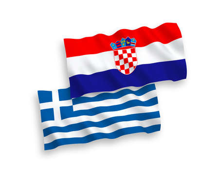 National vector fabric wave flags of Greece and Croatia isolated on white background. 1 to 2 proportion.