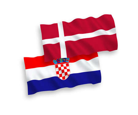 National vector fabric wave flags of Denmark and Croatia isolated on white background. 1 to 2 proportion.