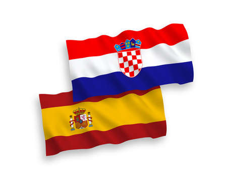 National vector fabric wave flags of Croatia and Spain isolated on white background. 1 to 2 proportion.