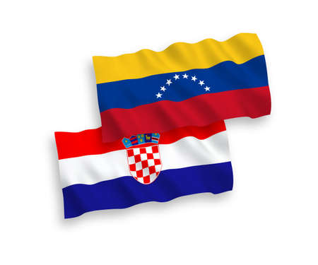 National vector fabric wave flags of Venezuela and Croatia isolated on white background. 1 to 2 proportion.