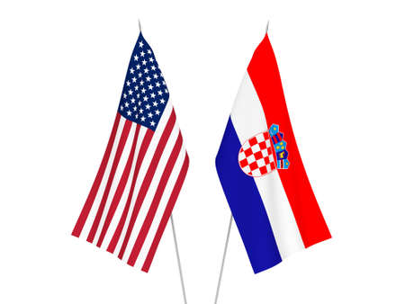 National fabric flags of America and Croatia isolated on white background. 3d rendering illustration.