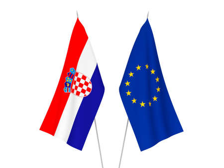 National fabric flags of European Union and Croatia isolated on white background. 3d rendering illustration.