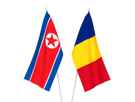 National fabric flags of Romania and North Korea isolated on white background. 3d rendering illustration.