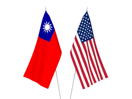 National fabric flags of America and Taiwan isolated on white background. 3d rendering illustration. 스톡 콘텐츠