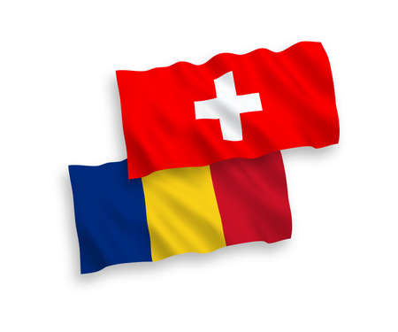 National vector fabric wave flags of Romania and Switzerland isolated on white background. 1 to 2 proportion.