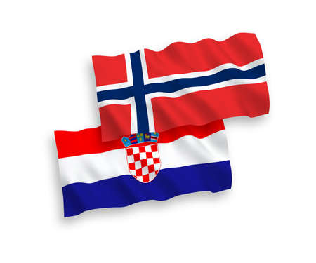 National vector fabric wave flags of Norway and Croatia isolated on white background. 1 to 2 proportion.