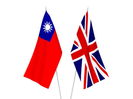 National fabric flags of Great Britain and Taiwan isolated on white background. 3d rendering illustration.