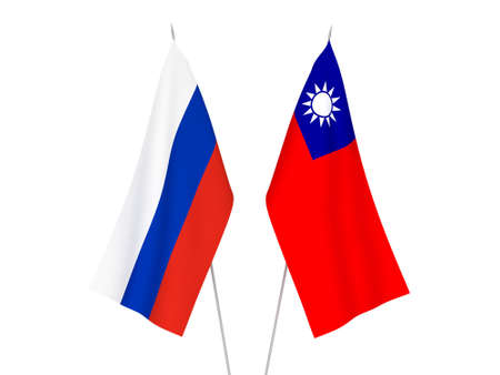 National fabric flags of Russia and Taiwan isolated on white background. 3d rendering illustration. 스톡 콘텐츠