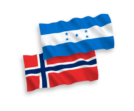 National vector fabric wave flags of Norway and Honduras isolated on white background. 1 to 2 proportion.