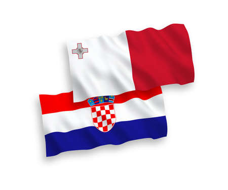 National vector fabric wave flags of Malta and Croatia isolated on white background. 1 to 2 proportion.