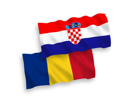 National vector fabric wave flags of Romania and Croatia isolated on white background. 1 to 2 proportion. Stock Illustratie