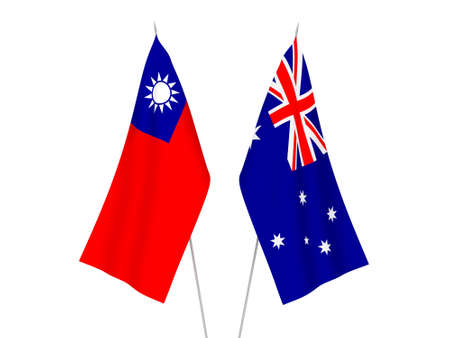 National fabric flags of Australia and Taiwan isolated on white background. 3d rendering illustration. 스톡 콘텐츠