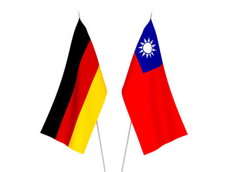 National fabric flags of Germany and Taiwan isolated on white background. 3d rendering illustration.