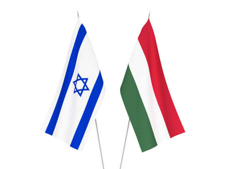 National fabric flags of Israel and Hungary isolated on white background. 3d rendering illustration.