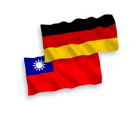 National vector fabric wave flags of Germany and Taiwan isolated on white background. 1 to 2 proportion.