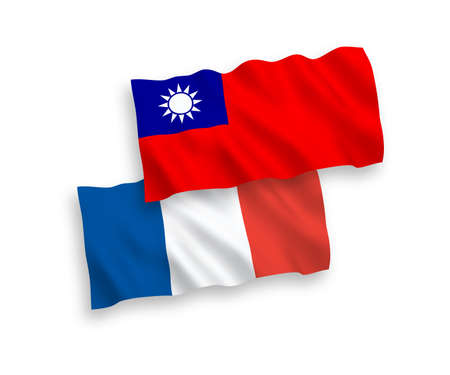 National vector fabric wave flags of France and Taiwan isolated on white background. 1 to 2 proportion.