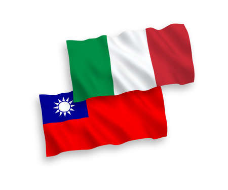 National vector fabric wave flags of Italy and Taiwan isolated on white background. 1 to 2 proportion.