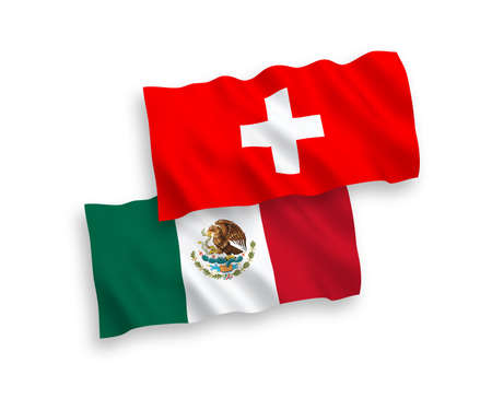 National vector fabric wave flags of Mexico and Switzerland isolated on white background. 1 to 2 proportion. Иллюстрация