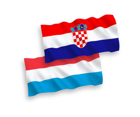 National vector fabric wave flags of Croatia and Luxembourg isolated on white background. 1 to 2 proportion. Ilustração