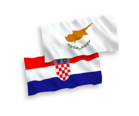 National vector fabric wave flags of Cyprus and Croatia isolated on white background. 1 to 2 proportion.