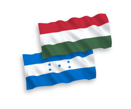 National vector fabric wave flags of Honduras and Hungary isolated on white background. 1 to 2 proportion. 일러스트