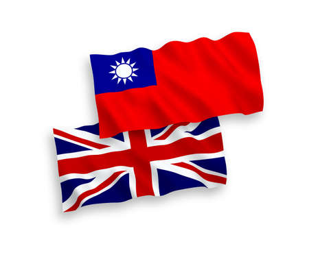 National vector fabric wave flags of Great Britain and Taiwan isolated on white background. 1 to 2 proportion.