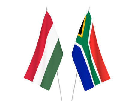 National fabric flags of Republic of South Africa and Hungary isolated on white background. 3d rendering illustration. 스톡 콘텐츠