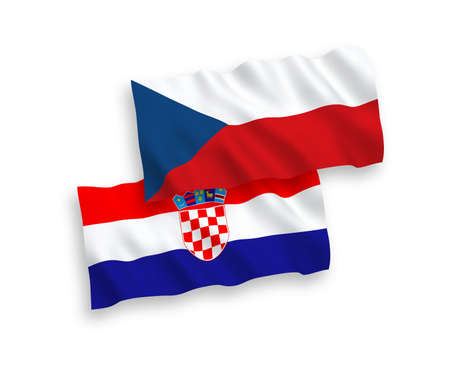 National vector fabric wave flags of Czech Republic and Croatia isolated on white background. 1 to 2 proportion.