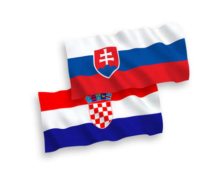 National vector fabric wave flags of Slovakia and Croatia isolated on white background. 1 to 2 proportion.