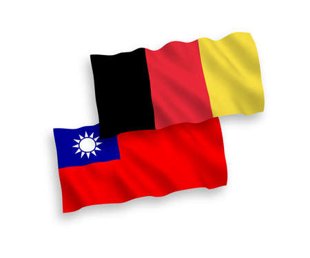 National vector fabric wave flags of Taiwan and Belgium isolated on white background. 1 to 2 proportion.