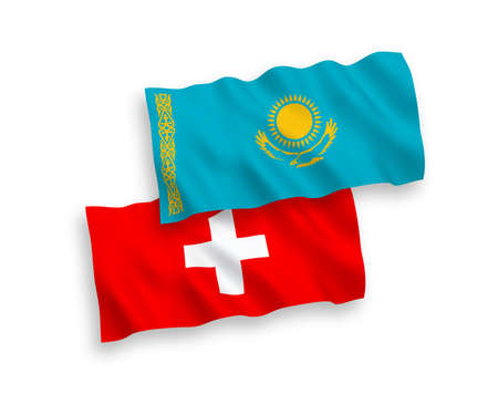 National vector fabric wave flags of Kazakhstan and Switzerland isolated on white background. 1 to 2 proportion.